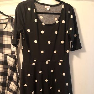 Lularoe Nicole Dress xl black and white polka dot